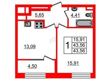 Квартира в ЖК Botanica, 1 комнатная, 43.56 м², 7 этаж