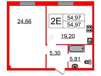 Квартира в ЖК Neva Haus, 1 комнатная, 54.97 м², 2 этаж