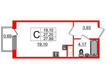 Квартира в ЖК Ювента, студия, 27.89 м², 2 этаж