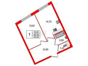 Квартира в ЖК Esper Club, 1 комнатная, 45.93 м², 3 этаж