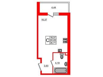Квартира в ЖК UP-квартал Комендантский, студия, 26.71 м², 9 этаж