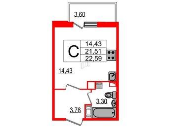 Квартира в ЖК 4YOU, студия, 22.59 м², 10 этаж