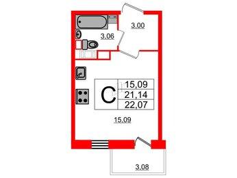 Квартира в ЖК 4YOU, студия, 22.07 м², 9 этаж