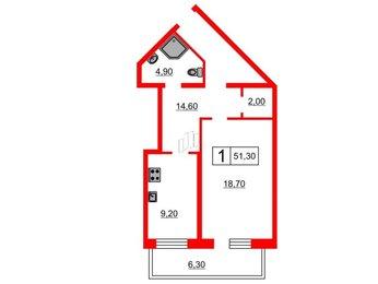 Квартира в ЖК «Кристалл Полюстрово», 1 комнатная, 51.3 м², 2 этаж