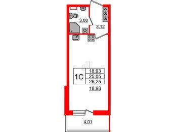 Квартира в ЖК Философия на Московской, студия, 25.05 м², 1 этаж