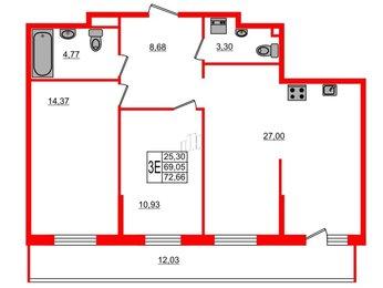 Квартира в ЖК UP-квартал Комендантский, 2 комнатная, 75.3 м², 3 этаж