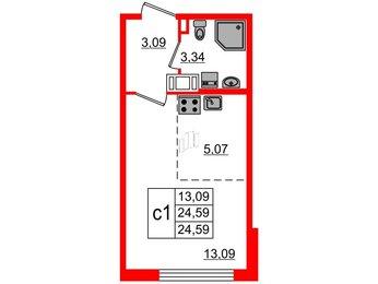 Квартира в ЖК ПАЛАЦИО, студия, 24.59 м², 2 этаж