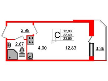 Квартира в ЖК UP! Квартал Светлановский, студия, 24.6 м², 1 этаж