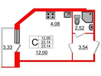 Квартира в ЖК UP! Квартал Светлановский, студия, 23.7 м², 1 этаж