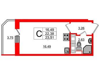 Квартира в ЖК UP! Квартал Светлановский, студия, 24.2 м², 12 этаж