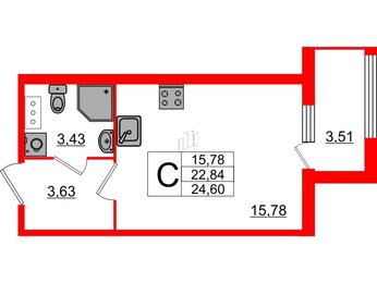 Квартира в ЖК «ARTквартал.Аквилон», студия, 24.6 м², 10 этаж