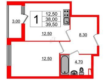 Квартира в ЖК Дом на Блюхера, 1 комнатная, 39.5 м², 2 этаж