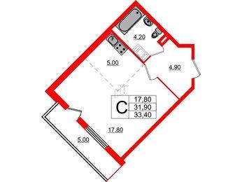 Квартира в ЖК Дом на Блюхера, студия, 33.4 м², 16 этаж