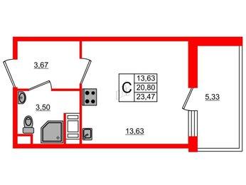 Квартира в ЖК «Жили-Были», студия, 23.47 м², 10 этаж