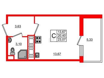 Квартира в ЖК «Жили-Были», студия, 23.07 м², 15 этаж
