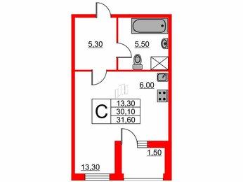 Квартира в ЖК Life-Лесная, студия, 31.6 м², 5 этаж