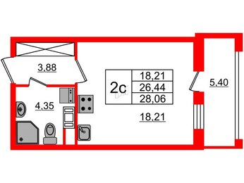 Квартира в ЖК Облака на Лесной, студия, 26.44 м², 3 этаж