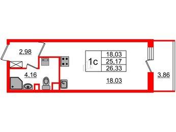 Квартира в ЖК Облака на Лесной, студия, 25.17 м², 2 этаж