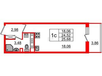 Квартира в ЖК Облака на Лесной, студия, 24.52 м², 10 этаж