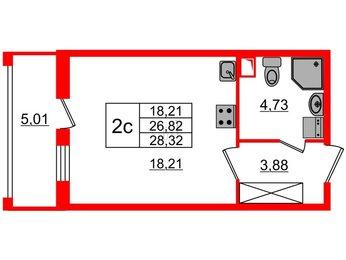 Квартира в ЖК Облака на Лесной, студия, 26.82 м², 1 этаж