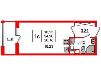 Квартира в ЖК Облака на Лесной, студия, 24.96 м², 4 этаж