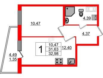 Квартира в ЖК «Муринские высоты», 1 комнатная, 31.63 м², 6 этаж