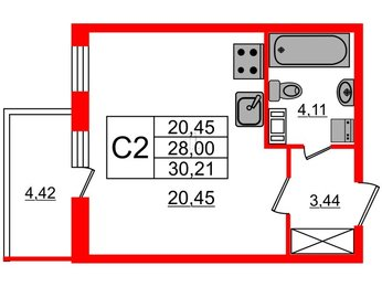 Квартира в ЖК Притяжение, студия, 28 м², 2 этаж