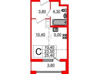 Квартира в ЖК Галактика, студия, 25.4 м², 5 этаж