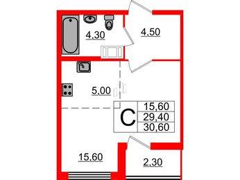 Квартира в ЖК Галактика, студия, 30.6 м², 5 этаж