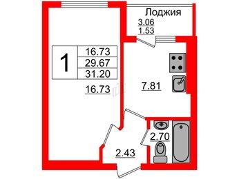 Квартира в ЖК Олимпия-11, 1 комнатная, 31.2 м², 3 этаж
