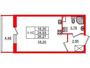 Квартира в ЖК GREENЛАНДИЯ 2, студия, 24.93 м², 1 этаж