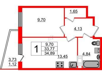 Квартира в ЖК «Муринские высоты», 1 комнатная, 33.77 м², 6 этаж