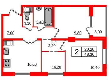 Квартира в ЖК Ultra City 2.0, 2 комнатная, 48.3 м², 5 этаж