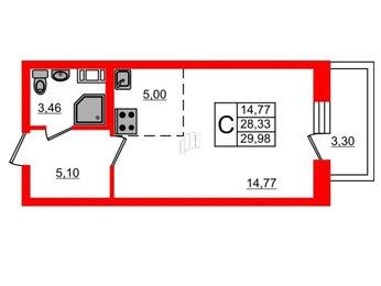Квартира в ЖК «Морская звезда», студия, 29.98 м², 5 этаж