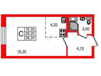 Квартира в ЖК «Морская звезда», студия, 28.2 м², 2 этаж