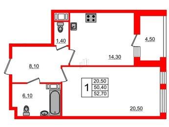 Квартира в ЖК «Галактика. Премиум», 1 комнатная, 52.7 м², 3 этаж