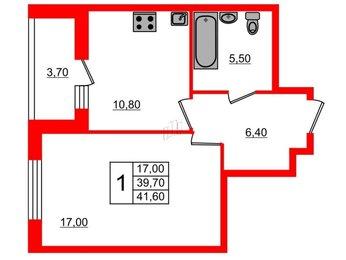 Квартира в ЖК «Галактика. Премиум», 1 комнатная, 41.6 м², 2 этаж
