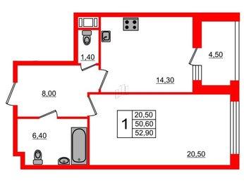 Квартира в ЖК «Галактика. Премиум», 1 комнатная, 52.9 м², 2 этаж
