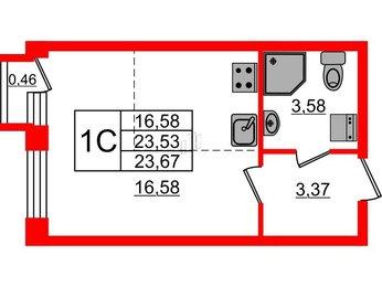 Квартира в ЖК «Фортеция», студия, 23.53 м², 1 этаж