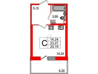 Квартира в ЖК «Наутилус», студия, 25.19 м², 1 этаж