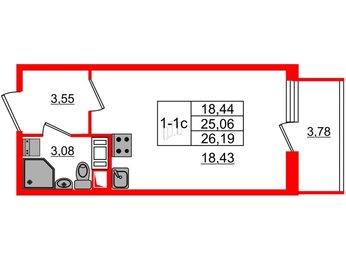 Квартира в ЖК GREENЛАНДИЯ 2, студия, 25.06 м², 11 этаж