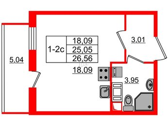 Квартира в ЖК GREENЛАНДИЯ 2, студия, 25.05 м², 3 этаж