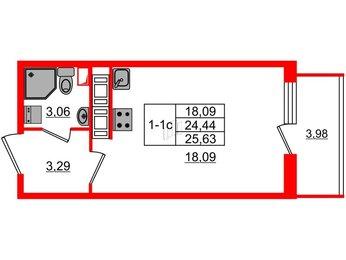 Квартира в ЖК GREENЛАНДИЯ 2, студия, 24.44 м², 14 этаж