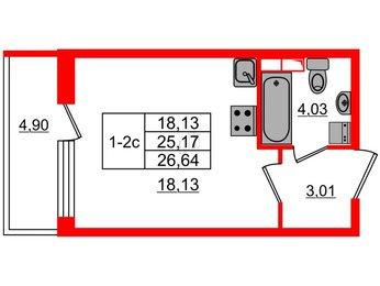 Квартира в ЖК GREENЛАНДИЯ 2, студия, 25.17 м², 1 этаж