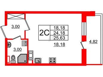 Квартира в ЖК Философия на Московской, студия, 24.18 м², 6 этаж