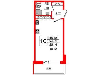 Квартира в ЖК Философия на Московской, студия, 24.05 м², 11 этаж