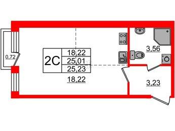 Квартира в ЖК «Фортеция», студия, 25.01 м², 1 этаж