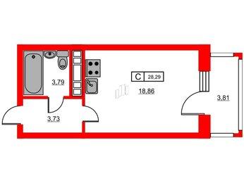 Квартира в ЖК «Новое Горелово», студия, 28.29 м², 13 этаж