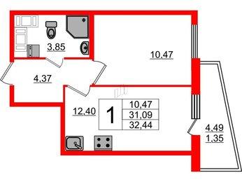 Квартира в ЖК «Муринские высоты», 1 комнатная, 31.09 м², 17 этаж