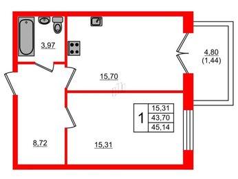 Квартира в ЖК Петровская доминанта, 1 комнатная, 45.14 м², 2 этаж